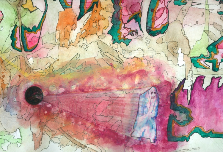 Wormholes Eat Themselves, 2011 Watercolor, ink, and bleach on paper
