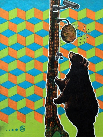 SURVEYING THE HIVE Acrylic on paper